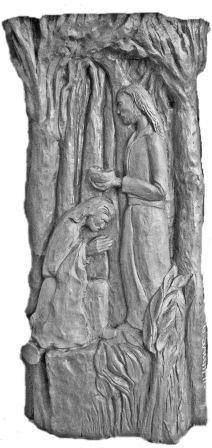 Un particolare dell'opera scultorea
