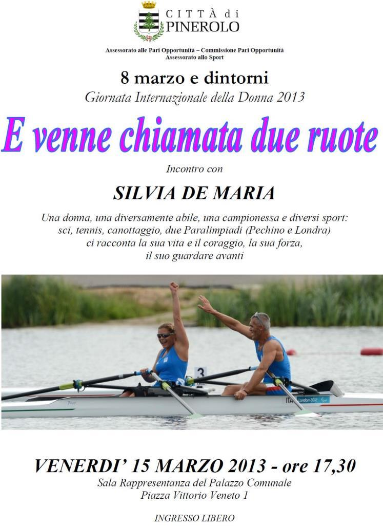 Locandina dell'incontro con Silvia DeMaria