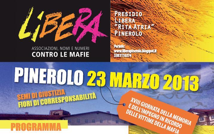 Il 23 marzo a Pinerolo la Giornata della Memoria in ricordo delle vittime delle mafie