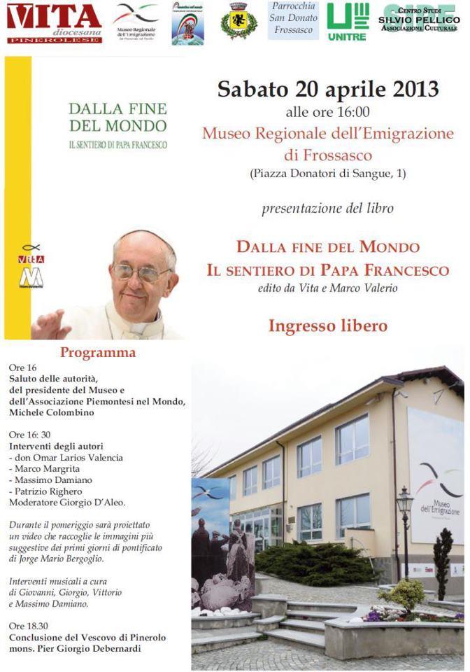 Il Museo dell'emigrazione di Frossasco presenta il libro su Papa Francesco