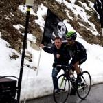 Giovanni Visconti, vincitore della 15° tappa, durante la scalata sul Col du Galibier (Foto Gianluca Bonnet)