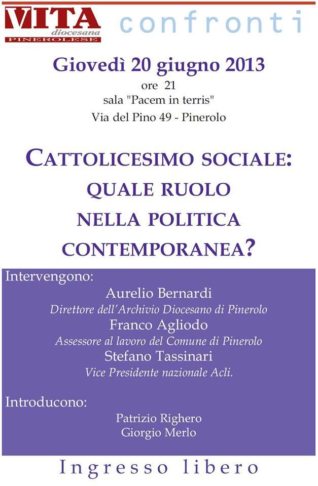 A Pinerolo si torna a parlare di cattolicesimo sociale