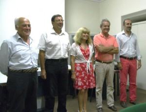 Da sinistra: Ernesto Ponza di Villar Perosa (Assessore); Roberto Bergeretti, Sindaco di San Germano Chisone (Presidente); Laura Zoggia, Sindaco di Porte (Vicepresidente); Riccardo Leger, Sindaco di Perrero (Assessore) e Elvio Rostagno, Sindaco di Usseaux (Assessore).