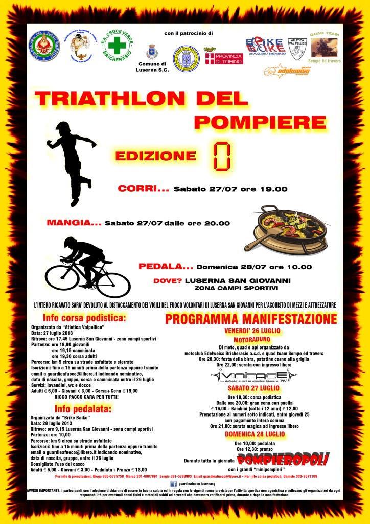 """A Luserna San Giovanni il """"Triathlon del pompiere"""""""