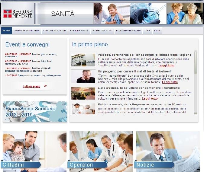 Nuovo sito per la sanità piemontese