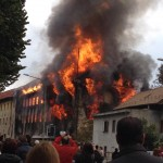 L'ex merlettificio Turk in fiamme