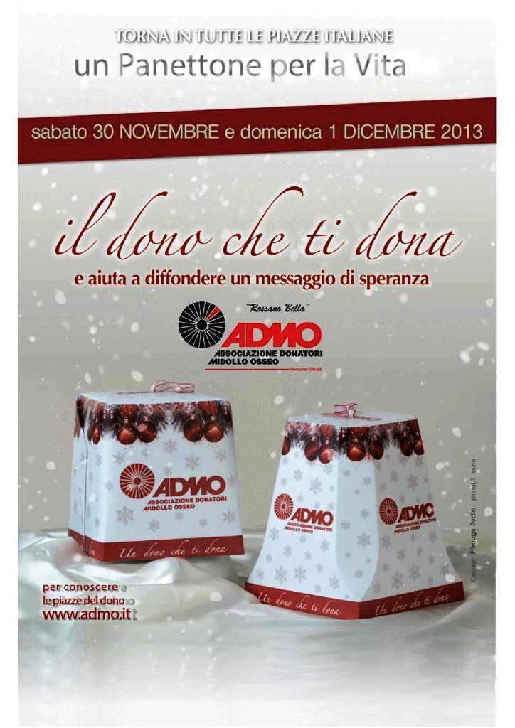 """L'ADMO ritorna in piazza con """"Un panettone per la vita"""""""
