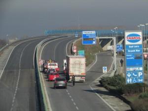 Il blocco in tangenziale in direzione Torino (ore 14:30)