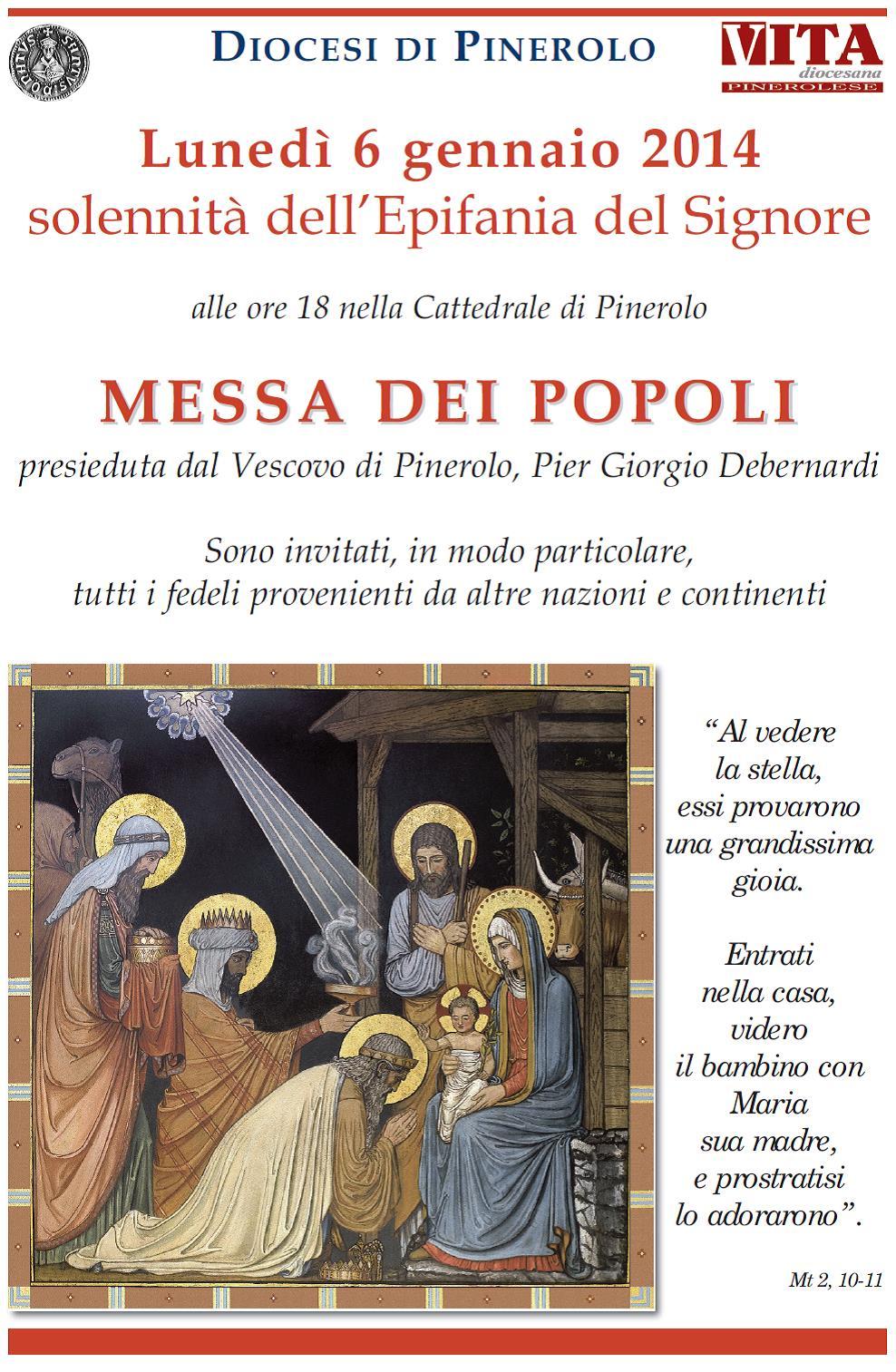 "Pinerolo. Il 6 gennaio la ""Messa dei popoli"""