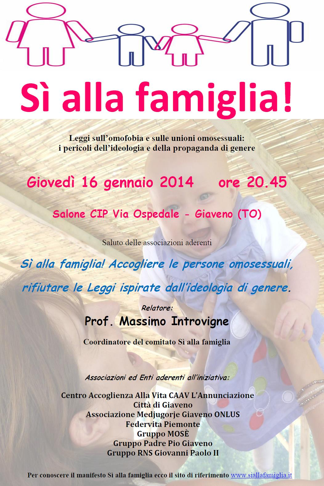 A Giaveno Introvigne su famiglia e omosessualità