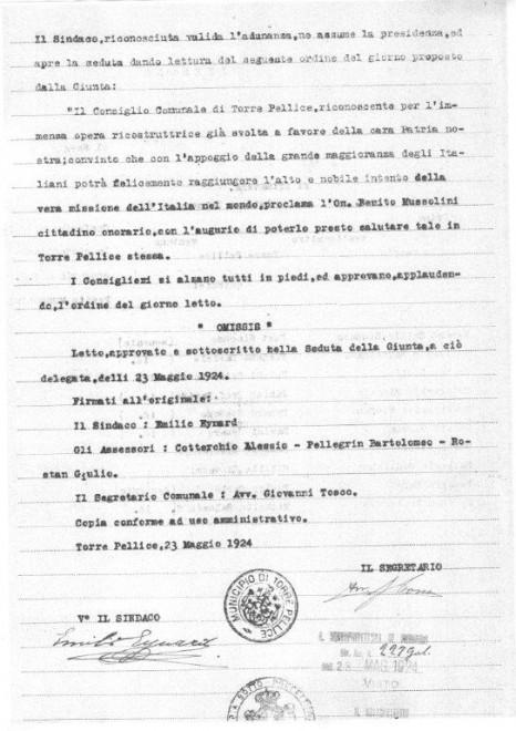Torre Pellice revoca la cittadinanza onoraria a Mussolini