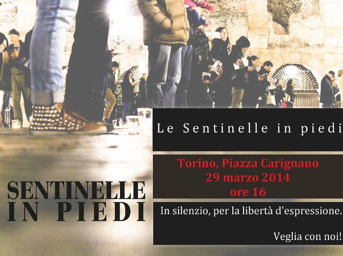 """A Torino la veglia delle """"Sentinelle in Piedi"""" a difesa della libertà di espressione"""