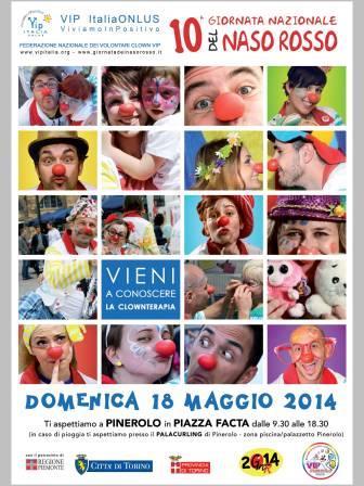 VIP col naso rosso in piazza a Pinerolo il 18 maggio
