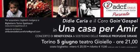 """Concerto benefico per """"Una casa per Amir"""" il 5 giugno a Torino"""