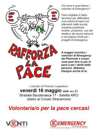 Emergency Pinerolo cerca volontari il 16 maggio