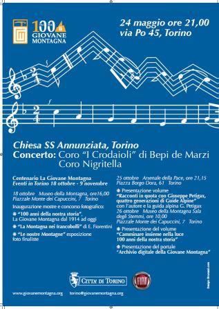 Torino. Concerto per i 100 anni de La Giovane Montagna