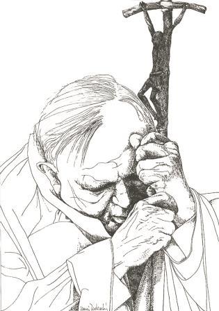 Papa Wojtyla ritratto nella sua gestualità da Nani Tedeschi