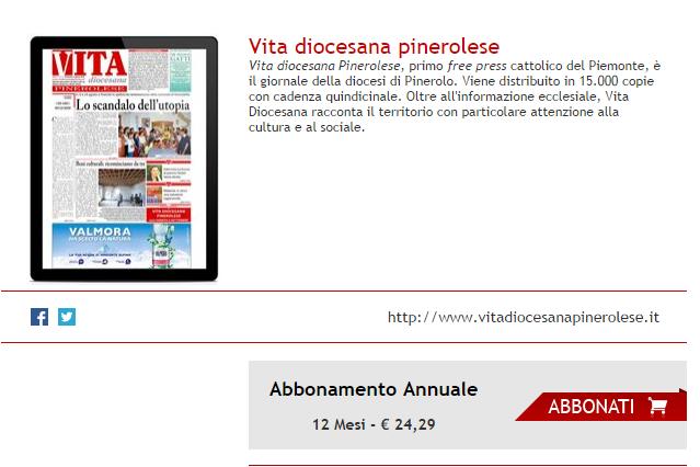 Regalati un anno di Vita! Il giornale diocesano di Pinerolo è disponibile anche in formato digitale