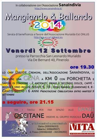 """Il 12 settembre """"Mangiando & Ballando"""" al Murialdo di Pinerolo"""