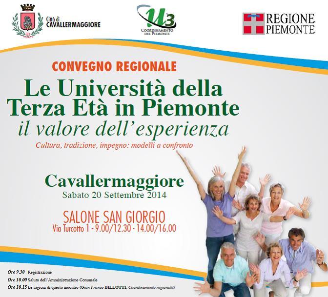 Il 20 settembre a Cavallermaggiore si incontrano le Università della Terza Età del Piemonte