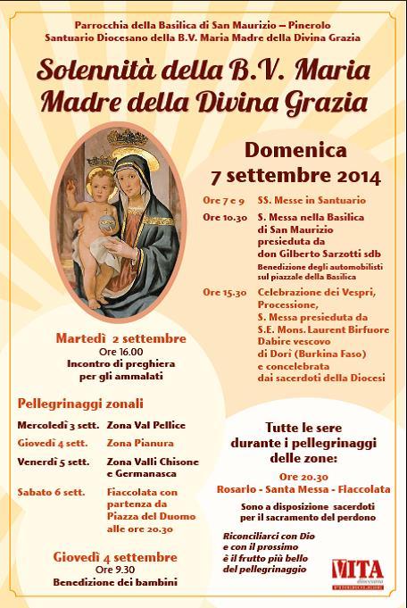 Dal 2 al 7 settembre la festa del Santuario Diocesano di Pinerolo