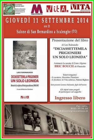 """Giovedì 11 settembra a Scalenghe la presentazione di """"Diciassettemila prigionieri un solo Leonida"""""""