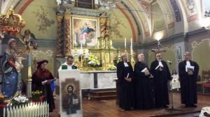 Don Mauro e i pastori valdesi e della Chiesa Riformata di Germania nella celebrazione ecumenica in occasione del rinnovo del Gemellaggio