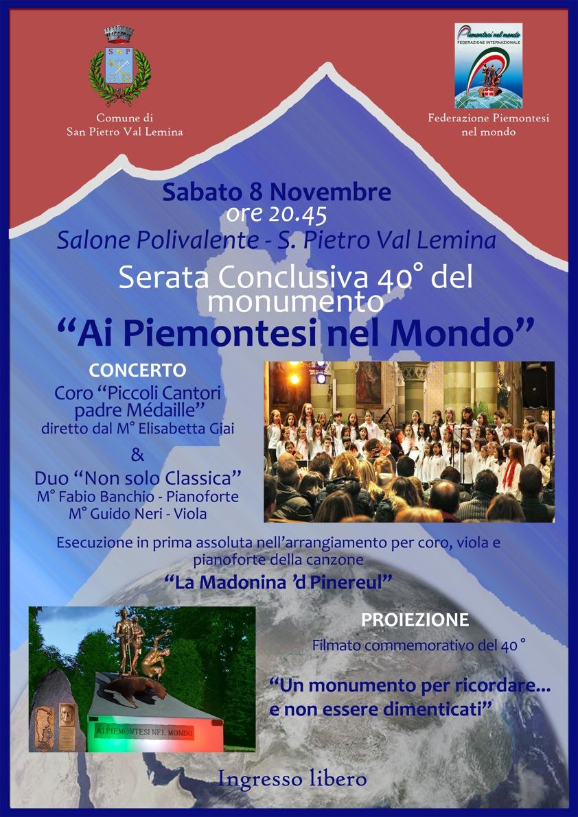 San Pietro Val Lemina. Serata conclusiva del 40° del monumento ai Piemontesi nel Mondo