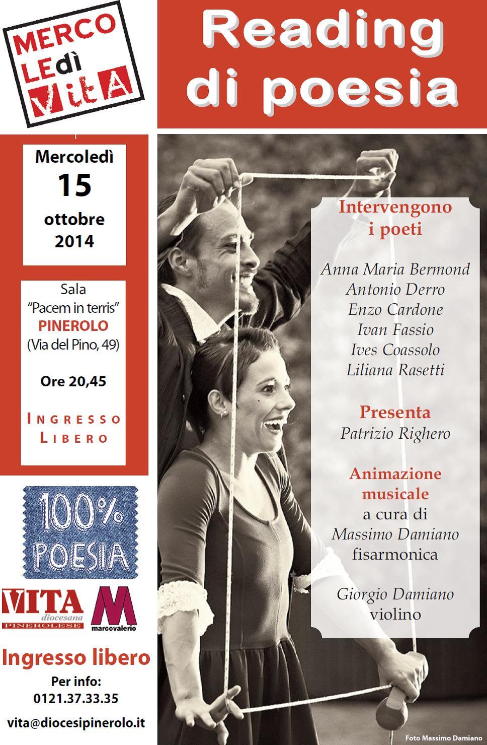 Pinerolo. Il 15 ottobre torna 100% poesia