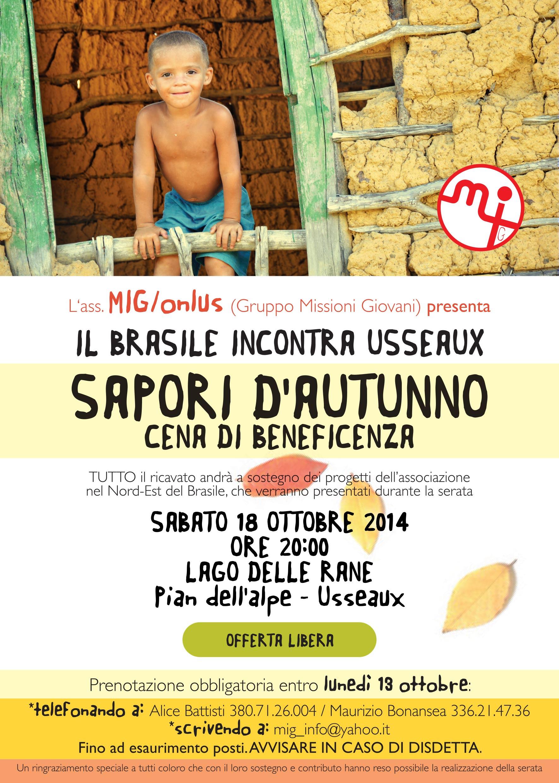 """Cena di beneficenza """"Sapori d'autunno"""" a Usseaux"""