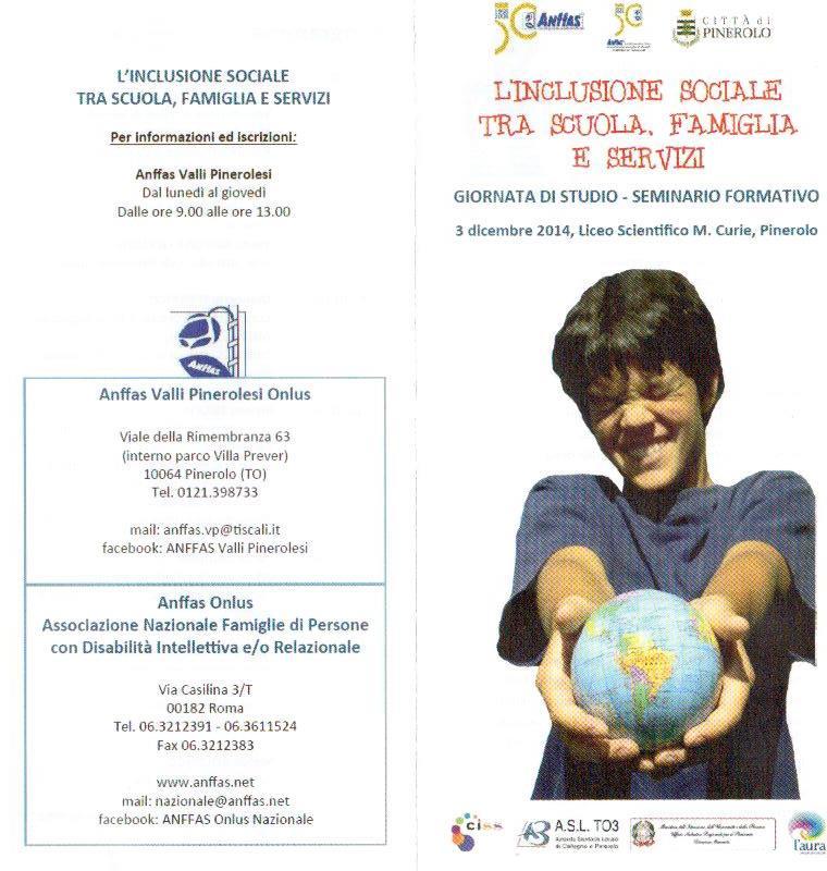 """Convegno ANFFAS """"L'inclusione sociale tra scuola, famiglia e servizi"""""""