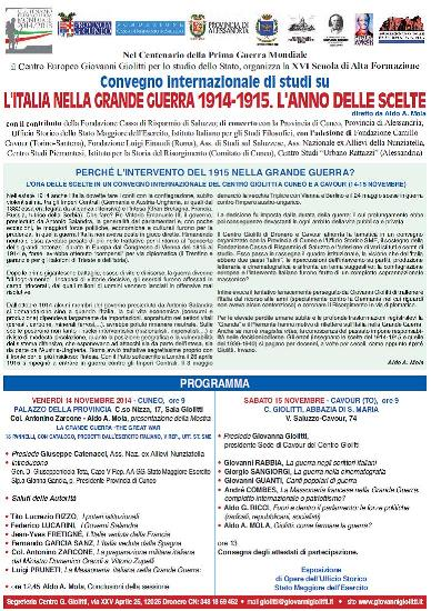 Cuneo e Cavour. Convegno su Giovanni Giolitti e la Grande Guerra