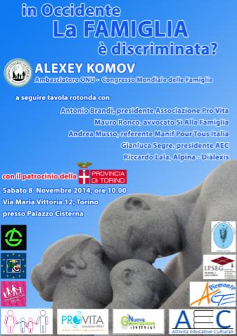 A Torino Alexey Komov, ambasciatore presso l'Onu del Congresso Mondiale delle Famiglie