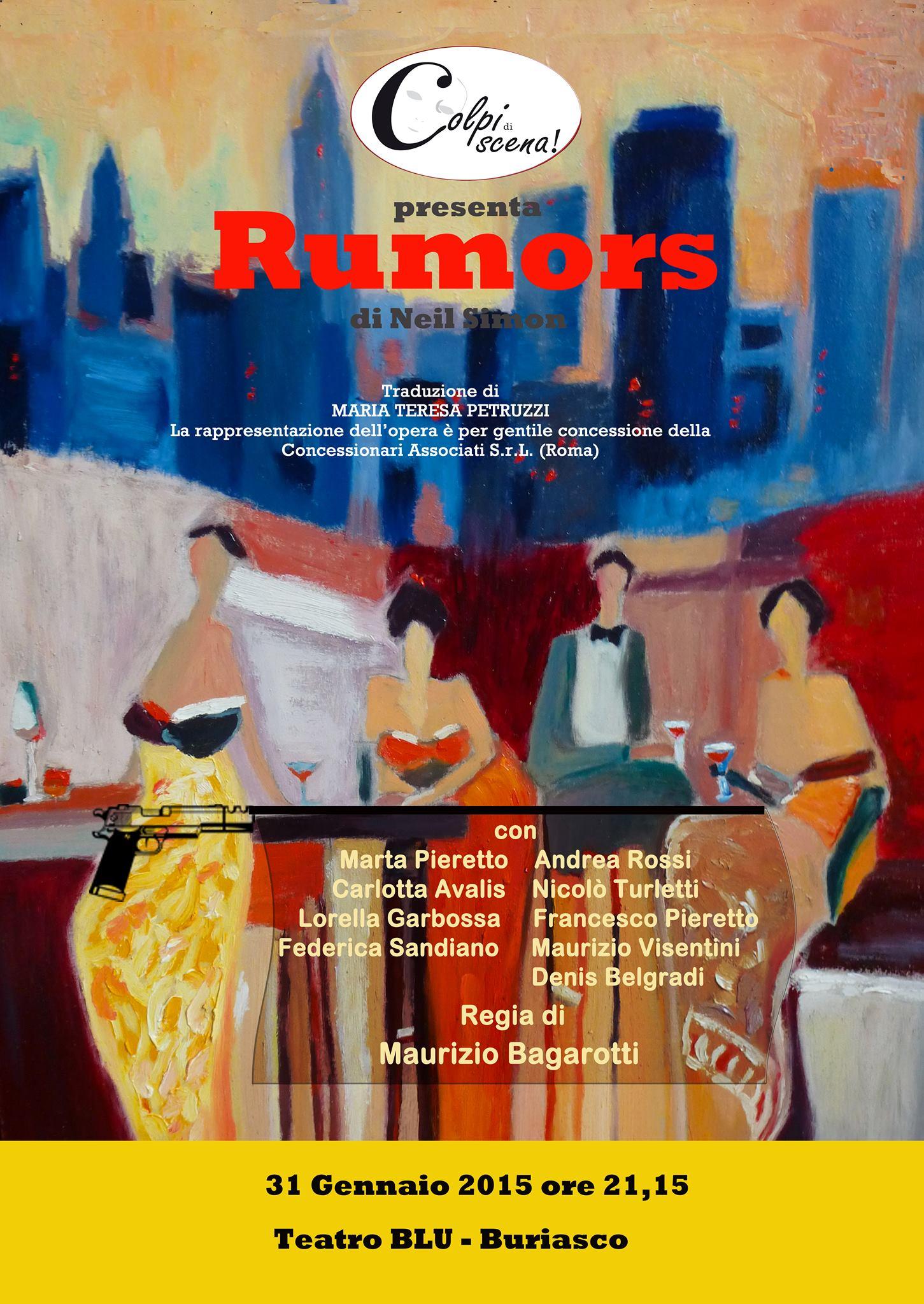 """Buriasco. I """"Colpi di scena!"""" presentano """"Rumors"""" di Neil Simon"""