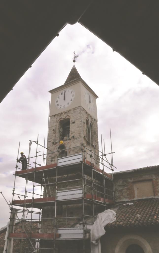 Roletto. Conclusi i lavori sul campanile e sulla facciata della chiesa