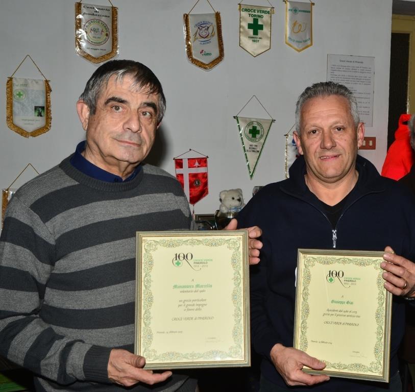 Croce Verde: premiati a Pinerolo i volontari Manassero e Giai