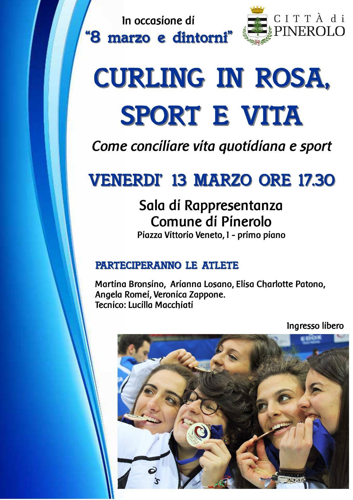 """Pinerolo. Venerdì 13 marzo """"Curling in rosa"""""""