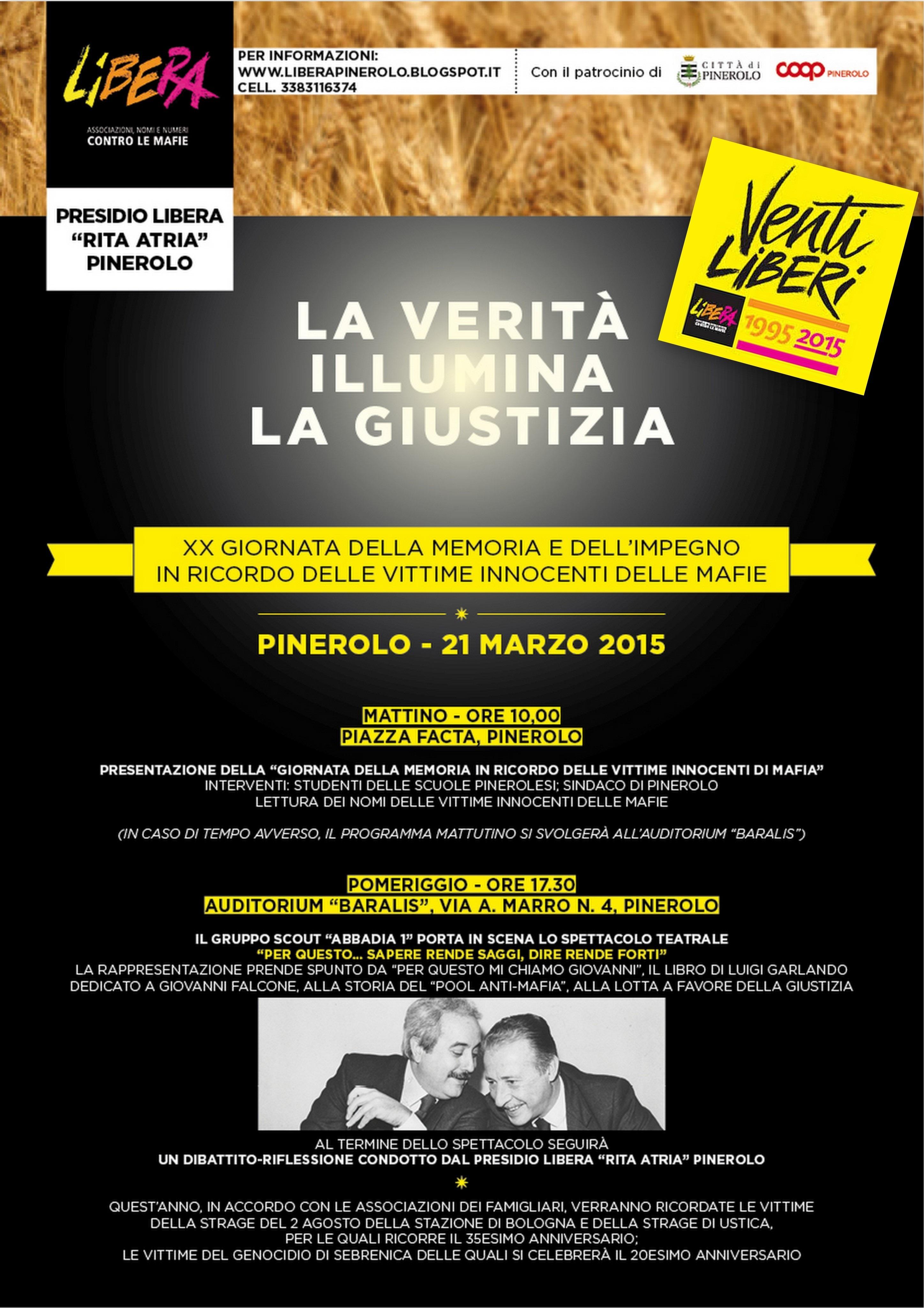 Pinerolo.  Il 21 marzo in piazza Facta per ricordare le vittime delle mafie