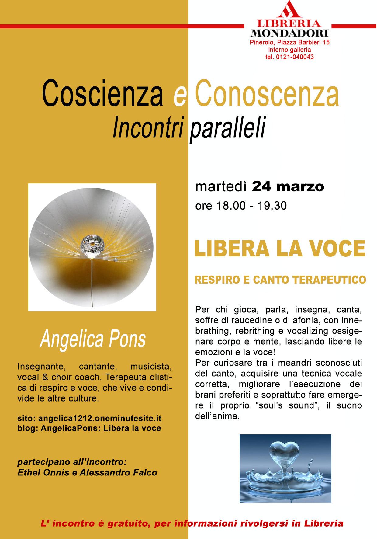 Pinerolo. Coscienza e conoscenza incontri paralleli con Angelica Pons