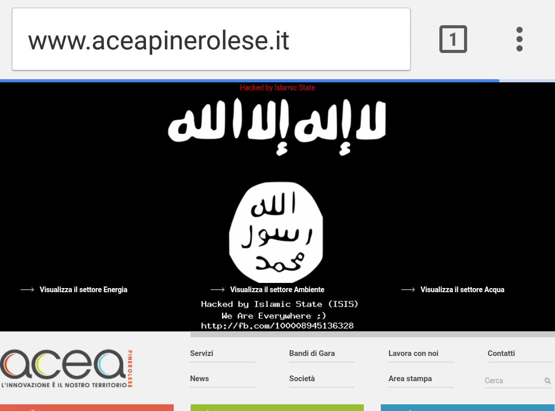 "Sito dell'Acea Pinerolo sotto attacco: ""Hacked by Isis"""