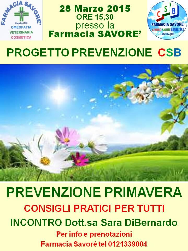 """Macello. """"Prevenzione Primavera"""" in farmacia"""