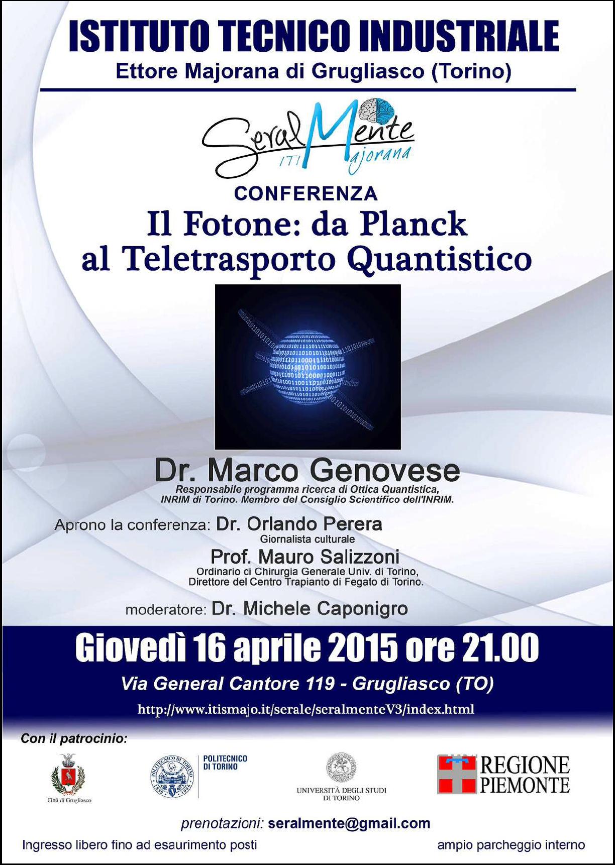 """Scienza a Grugliasco """"Il Fotone: da Planck al Teletrasporto Quantistico"""""""