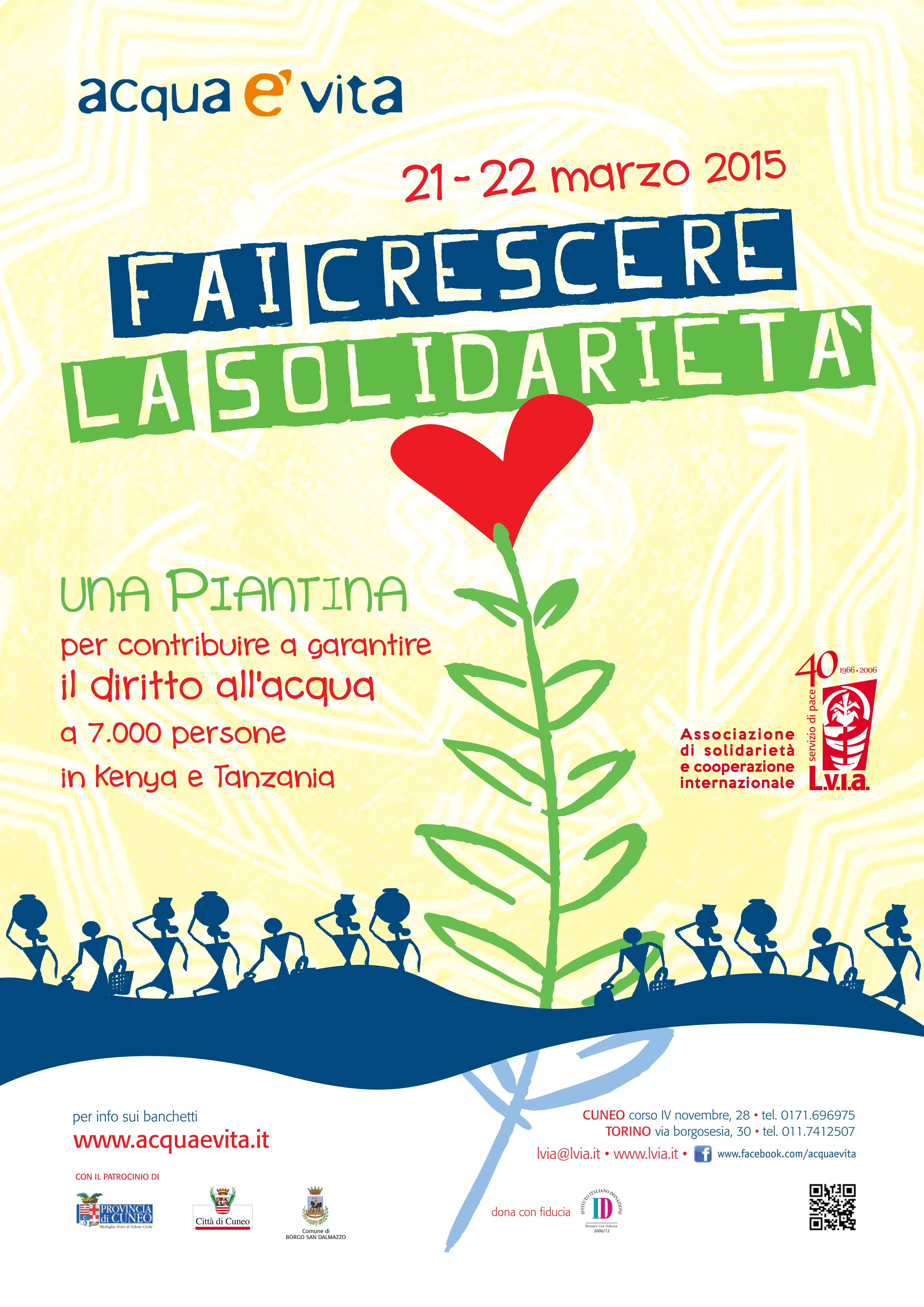 """Torino. Giornata Mondiale dell'Acqua 2015: """"Fai crescere la solidarietà"""" con LVIA"""