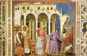 Gesù scaccia i mercanti  - Giotto