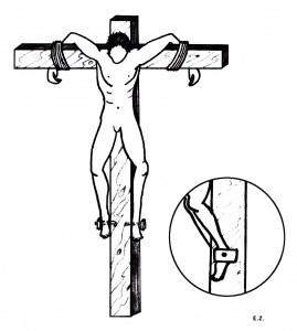 Allegato 4 - Vita 6, Figura 4 [1978 - Eytan Zias, Ricostruzione della Posizione sulla Croce di Giovanni]