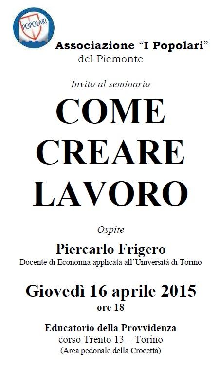 """Torino. Seminari su """"come creare lavoro"""""""