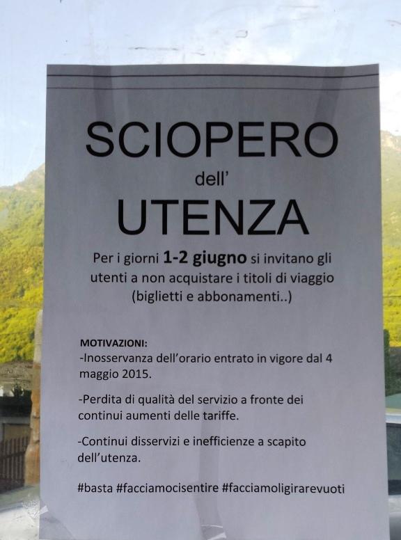 """1 e 2 giugno in Val Chisone """"Sciopero dell'utenza"""" contro i disservizi dei trasporti"""