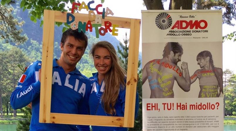 Gli sciatori Francesca e Matteo Marsaglia testimonial dell'Admo a Villar Perosa