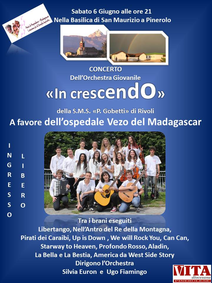 Sabato 6 giugno torna a Pinerolo l'Orchestra INCRESCENDO