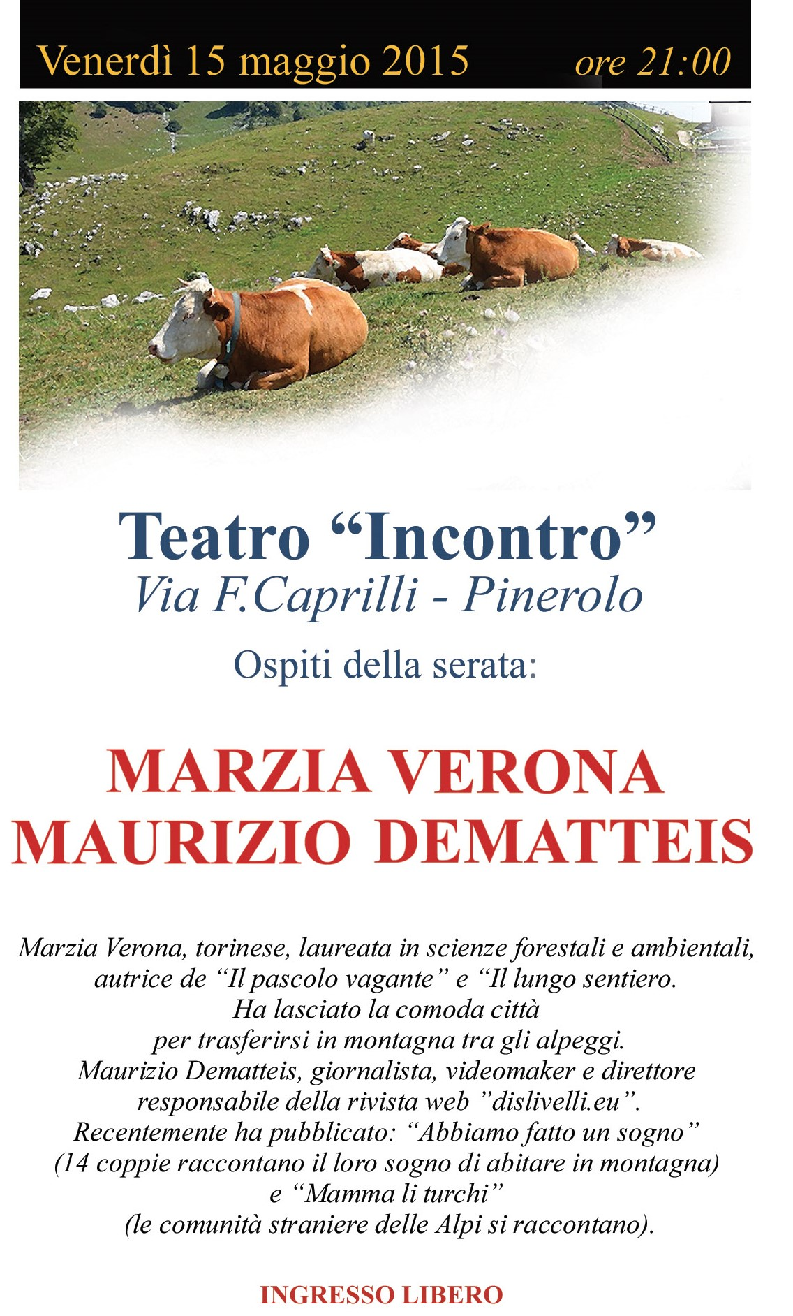 Tornare ad abitare la montagna: il 15 maggio a Pinerolo un incontro con M. Verona e M. Dematteis